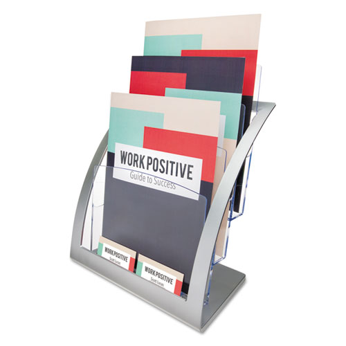 Image for 3-TIER LITERATURE HOLDER, LEAFLET SIZE, 11.25W X 6.94D X 13.31H, SILVER