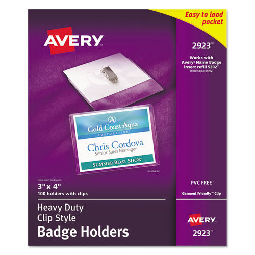 HEAVY-DUTY CLIP-STYLE BADGE HOLDERS, HORIZONTAL, 4 X 3, CLEAR, 100/BOX