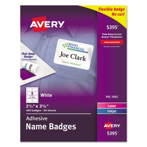 FLEXIBLE ADHESIVE NAME BADGE LABELS, 3.38 X 2.33, WHITE, 400/BOX