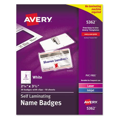 Self-Laminating Laser/inkjet Printer Badges, 2 1/4 X 3 1/2, White, 30/box