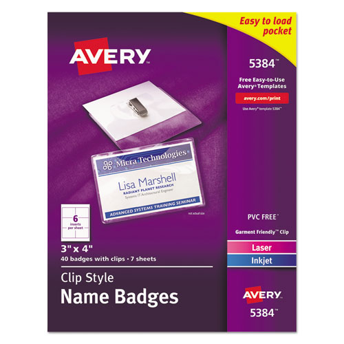 CLIP-STYLE NAME BADGE HOLDER WITH LASER/INKJET INSERT, TOP LOAD, 4 X 3, WHITE, 40/BOX