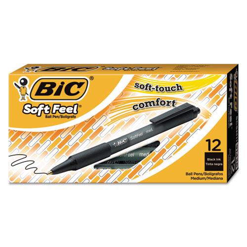 SOFT FEEL RETRACTABLE BALLPOINT PEN, MEDIUM 1MM, BLACK INK/BARREL, DOZEN