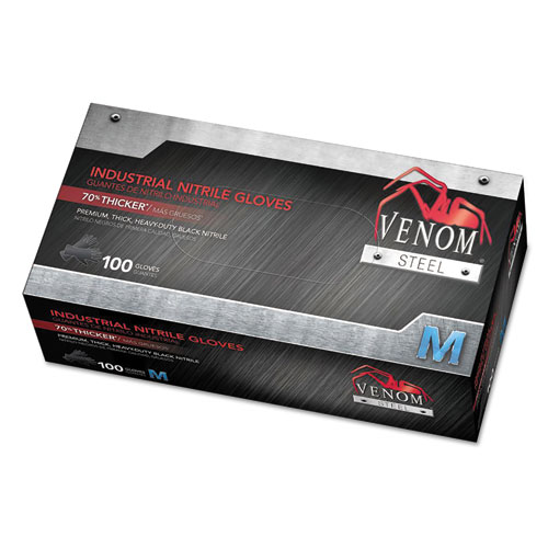 Venom Steel Industrial Nitrile Gloves, Medium, Black, 7 Mil, 100/box
