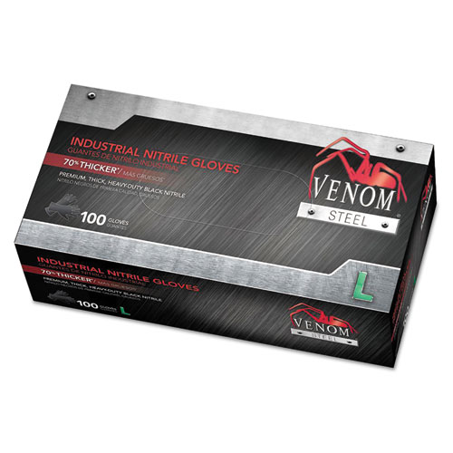Venom Steel Industrial Nitrile Gloves, Large, Black, 6 Mil, 100/box
