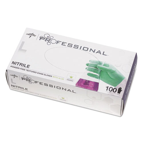 Professional Nitrile Exam Gloves With Aloe, Large, Green, 100/box