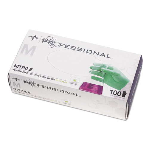 Professional Nitrile Exam Gloves With Aloe, Medium, Green, 100/box