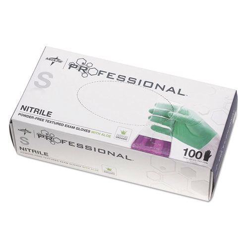 Professional Nitrile Exam Gloves With Aloe, Small, Green, 100/box