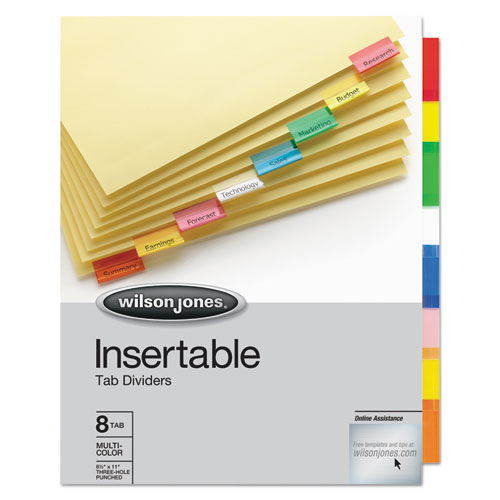 INSERTABLE TAB DIVIDERS, 3-HOLD PUNCHED, 8-TAB, 11 X 8.5, BUFF, 1 SET 22855