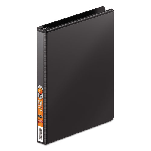 Wilsonjnes Heavy-duty Round Ring View Binder W/extra-durable Hinge, 1/2 Cap, Black
