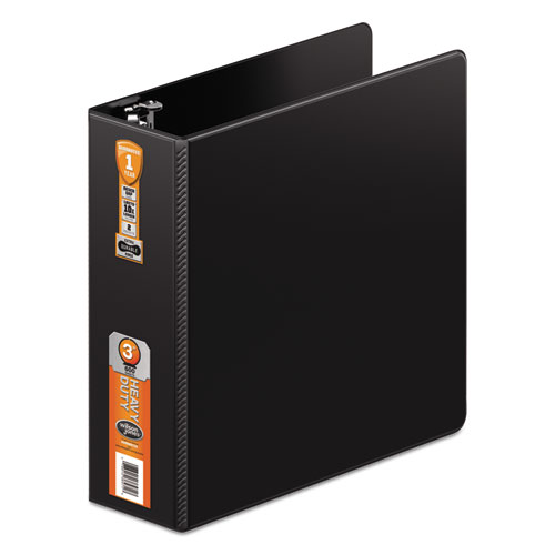 Wilsonjnes Heavy-duty D-ring Binder W/extra-durable Hinge, 3 Cap, Black