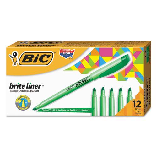 Brite Liner Highlighter, Chisel Tip, Fluorescent Green, Dozen