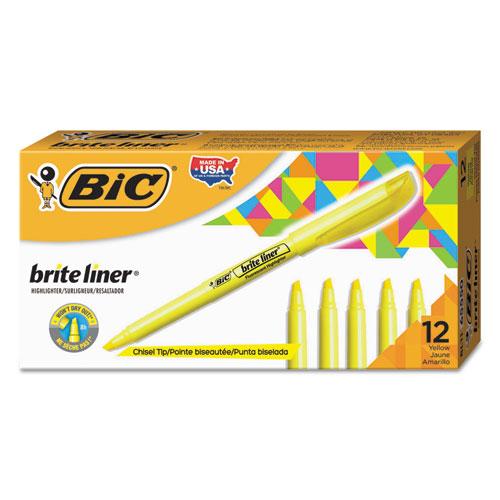 Brite Liner Highlighter, Chisel Tip, Fluorescent Yellow, Dozen