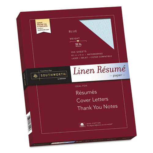 Image for 100% COTTON PREMIUM WEIGHT LINEN RESUME PAPER, 32 LB, 8.5 X 11, BLUE, 100/PACK