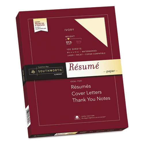 Image for 100% COTTON RESUME PAPER, 24 LB, 8.5 X 11, IVORY, 100/PACK