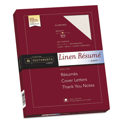 Image for 100% COTTON PREMIUM WEIGHT LINEN RESUME PAPER, 32 LB, 8.5 X 11, ALMOND, 100/PACK