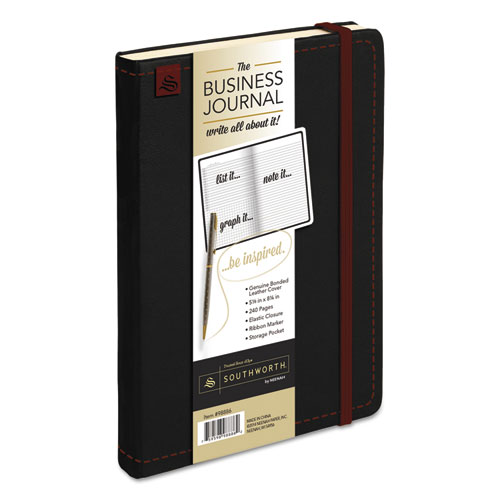 BUSINESS JOURNAL, NARROW RULE, BLACK COVER, 8.25 X 5.13, 240 SHEETS