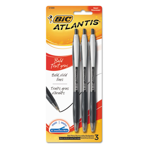 ATLANTIS BOLD RETRACTABLE BALLPOINT PEN, BOLD 1.6MM, BLACK INK/BARREL, 3/PACK