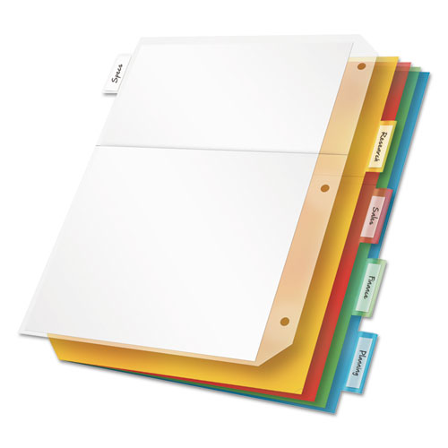 Poly Ring Binder Pockets, 11 X 8 1/2, Letter, Assorted Colors, 5/pack