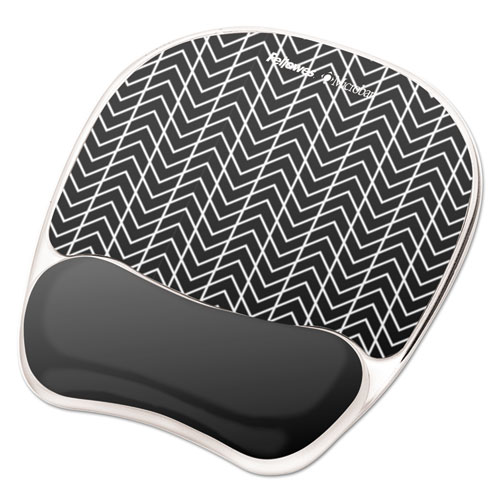 Photo Gel Wrist Rest With Microban, 7 7/8 X 9 1/4 X 7/8, Black/white