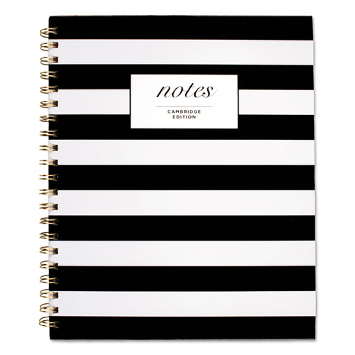 BLACK & WHITE STRIPED HARDCOVER NOTEBOOK, 1 SUBJECT, WIDE/LEGAL RULE, BLACK/WHITE STRIPES COVER, 11 X 8.88, 80 SHEETS