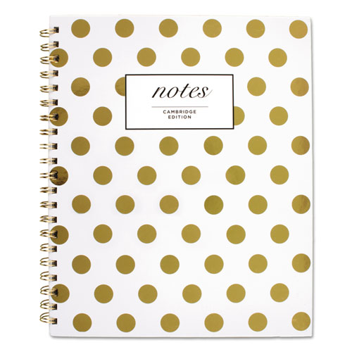 GOLD DOTS HARDCOVER NOTEBOOK, 1 SUBJECT, WIDE/LEGAL RULE, WHITE/GOLD DOTS COVER, 11 X 8.88, 80 SHEETS