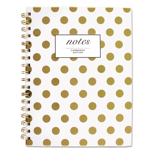 GOLD DOTS HARDCOVER NOTEBOOK, 1 SUBJECT, WIDE/LEGAL RULE, WHITE/GOLD DOTS COVER, 9.5 X 7, 80 SHEETS