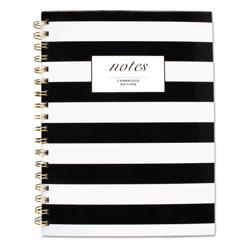 BLACK & WHITE STRIPED HARDCOVER NOTEBOOK, 1 SUBJECT, WIDE/LEGAL RULE, BLACK/WHITE STRIPES COVER, 9.5 X 7.25, 80 SHEETS