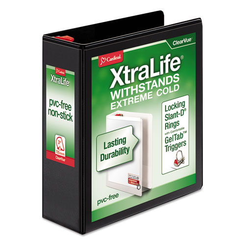 XTRALIFE CLEARVUE NON-STICK LOCKING SLANT-D RING BINDER, 3 RINGS, 3