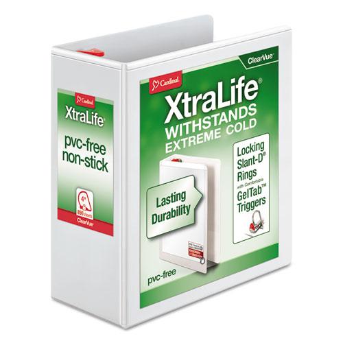 XTRALIFE CLEARVUE NON-STICK LOCKING SLANT-D RING BINDER, 3 RINGS, 4