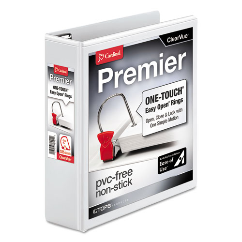 PREMIER EASY OPEN CLEARVUE LOCKING SLANT-D RING BINDER, 3 RINGS, 2