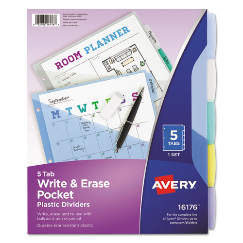 WRITE AND ERASE DURABLE PLASTIC DIVIDERS WITH POCKET, 3-HOLD PUNCHED, 5-TAB, 11.13 X 9.25, ASSORTED, 1 SET