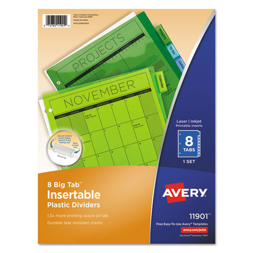 INSERTABLE BIG TAB PLASTIC DIVIDERS, 8-TAB, 11 X 8.5, ASSORTED, 1 SET