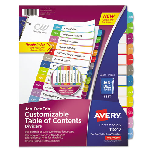 CUSTOMIZABLE TOC READY INDEX MULTICOLOR DIVIDERS, JAN-DEC, LETTER