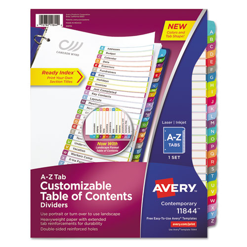 CUSTOMIZABLE TOC READY INDEX MULTICOLOR DIVIDERS, A-Z, LETTER