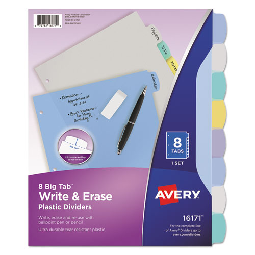 WRITE AND ERASE BIG TAB DURABLE PLASTIC DIVIDERS, 3-HOLD PUNCHED, 8-TAB, 11 X 8.5, ASSORTED, 1 SET
