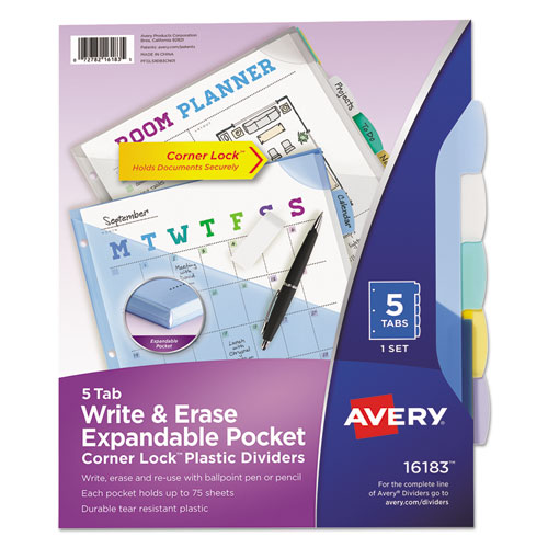 WRITE AND ERASE CORNER LOCK BIG TAB DURABLE PLASTIC DIVIDERS, 3-HOLD PUNCHED, 5-TAB, 11 X 8.5, ASSORTED, 1 SET