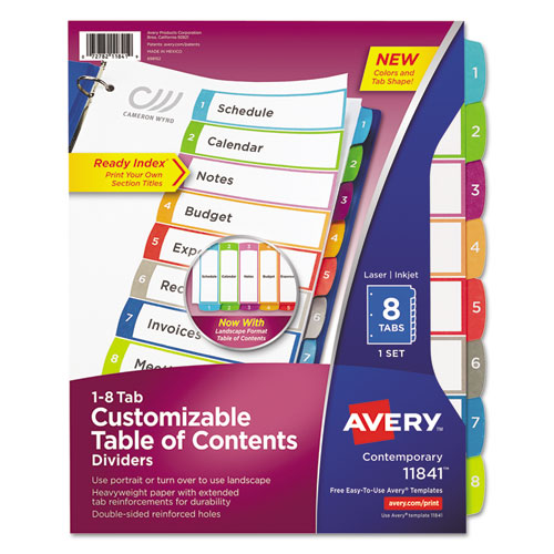 CUSTOMIZABLE TOC READY INDEX MULTICOLOR DIVIDERS, 1-8, LETTER