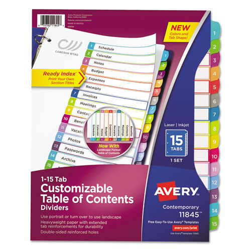CUSTOMIZABLE TOC READY INDEX MULTICOLOR DIVIDERS, 1-15, LETTER