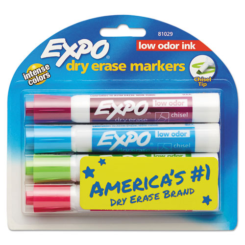 Sanford, L.p. Expo Low-odor Dry Erase Chisel Tip Markers - Chisel Marker Point Style - Aqua, Lime, Pink, Turquoise - 4 / Pack