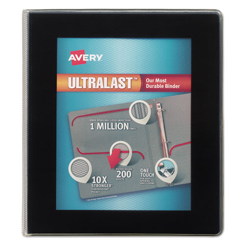 ULTRALAST HEAVY-DUTY VIEW BINDER WITH ONE TOUCH SLANT RINGS, 3 RINGS, 1