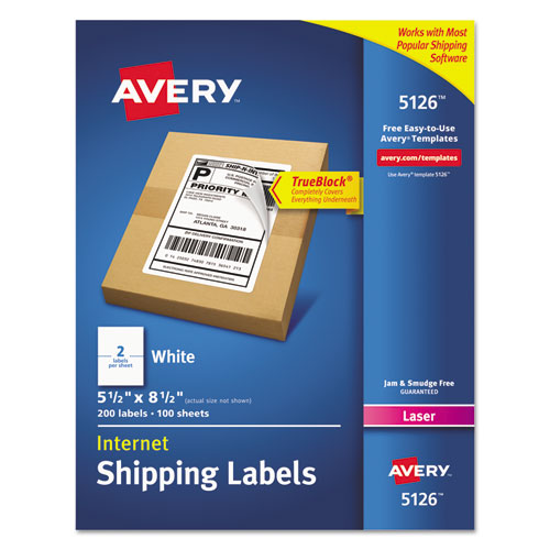 SHIPPING LABELS W/ TRUEBLOCK TECHNOLOGY, LASER PRINTERS, 5.5 X 8.5, WHITE, 2/SHEET, 100 SHEETS/BOX