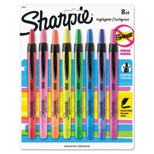 RETRACTABLE HIGHLIGHTERS, CHISEL TIP, ASSORTED COLORS, 8/SET