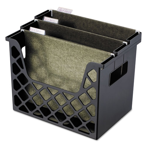 Image for Recycled Desktop File Holder, Plastic, 13 1/4 X 8 1/2 X 9 5/8, Black