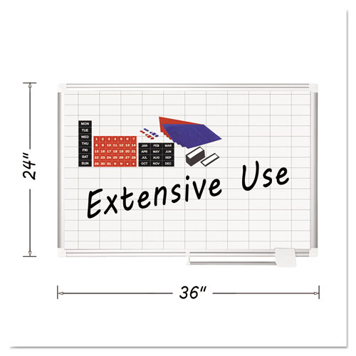 Platinum Plus Magnetic Porcelain Dry Erase Board, 1 X 2 Grid, 36 X 24, Silver