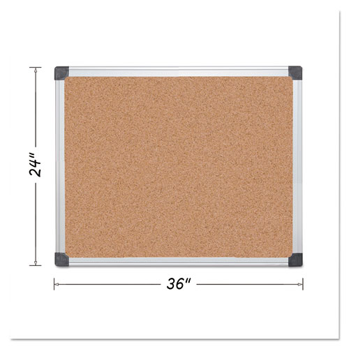 Value Cork Bulletin Board With Aluminum Frame, 24 X 36, Natural