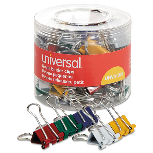 BINDER CLIPS IN DISPENSER TUB, SMALL, ASSORTED COLORS, 40/PACK