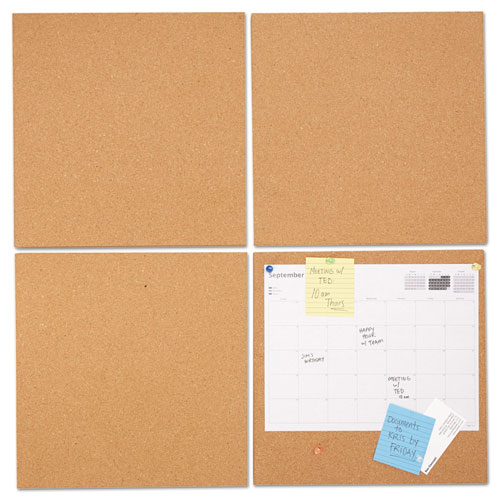Cork Tile Panels, Brown, 12 X 12, 4/pack