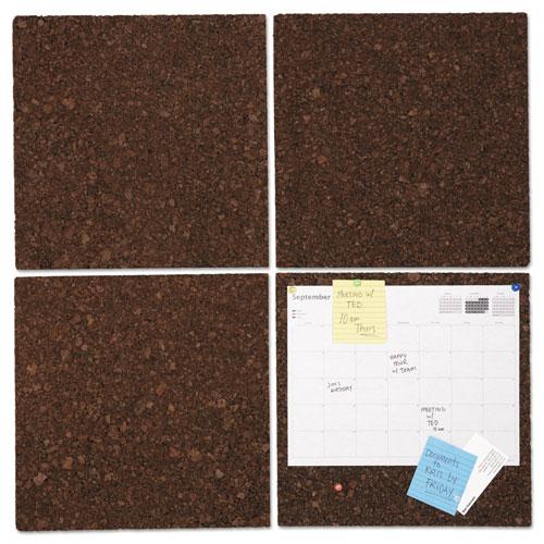 Cork Tile Panels, Dark Brown, 12 X 12, 4/pack