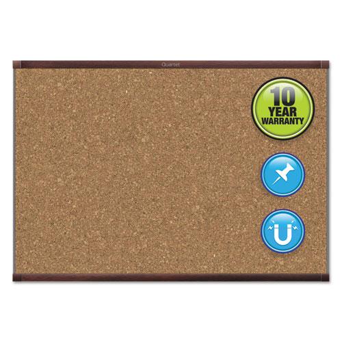 Prestige 2 Magnetic Cork Bulletin Board, 36 X 24, Mahogany Frame