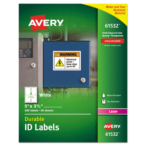 DURABLE PERMANENT ID LABELS WITH TRUEBLOCK TECHNOLOGY, LASER PRINTERS, 3.5 X 5, WHITE, 4/SHEET, 50 SHEETS/PACK